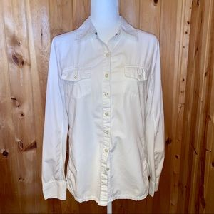 Converse white long sleeve button up shirt size L
